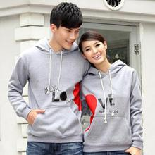 Porspor - Heart Print Hooded Couple Pullover