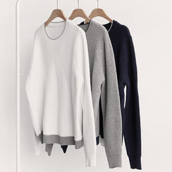 NIPONJJUYA - Contrast-Trim Knit Top
