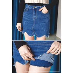 migunstyle - Distressed Denim Skort