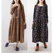 Epoch - Long-Sleeved Floral Print Maxi Dress
