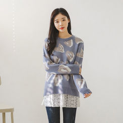 JUSTONE - Crew-Neck Heart Pattern Sweater