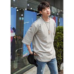 GERIO - Elbow-Sleeve Plain T-Shirt