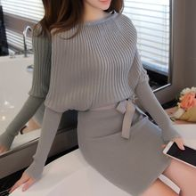 Bubbleknot - Ribbed Long-Sleeve Knit Dress