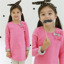 TWINSBILLY - Girls Beribboned Stripe Dress