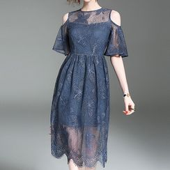 Alaroo - Cold Shoulder A-Line Lace Dress