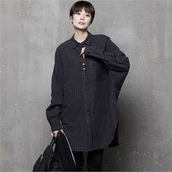 HALUMAYBE - Drop-Shoulder Striped Long Shirt