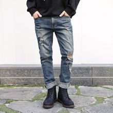 TOMONARI - Distressed Washed Straight-Cut Jeans