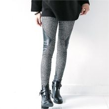 GLAM12 - Faux-Leather Panel Trim Leggings