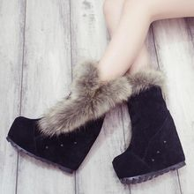 Shoeland - Faux Fur Trim Studded Wedge Short Boots