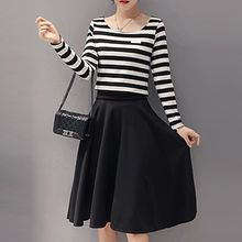 Yohana - Set: Long-Sleeve Striped Top + Midi Skirt