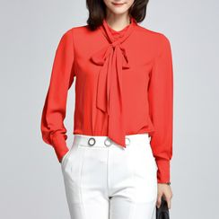 Sentubila - Bow Neck Chiffon Blouse