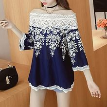 Cloud Nine - 3/4-Sleeve Off Shoulder Lace Trim Blouse