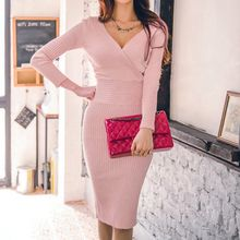 Aurora - Long-Sleeve V-Neck Knit Dress