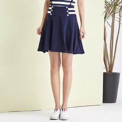 Sentubila - Striped Panel A-line Skirt