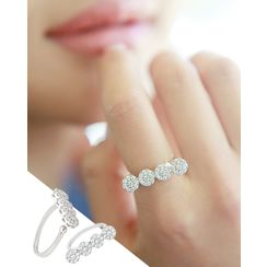 Miss21 Korea - Rhinestone-Disc Open Ring