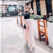 Tang House - Slit Wide Leg Chiffon Pants