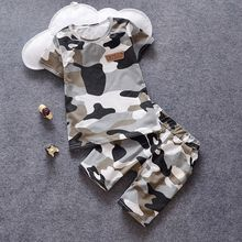POMME - Kids Set: Camouflage Short-Sleeve T-shirt + Shorts