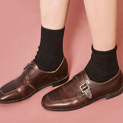 chuu - Square-Toe Buckled Loafers