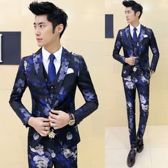 Blueforce - Set: Floral Print Blazer + Vest + Dress Pants