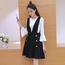 Zzang Girls - Set: 3/4-Sleeve Top + Double-Breasted Suspender Skirt