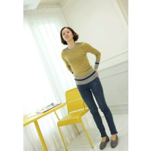 Lemite - Buttoned-Shoulder Stripe Sweater