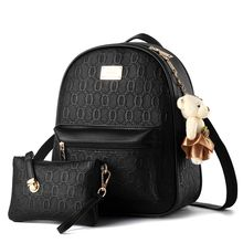 miim - Set: Letter Embossed Faux Leather Backpack + Zip Pouch