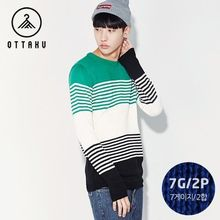 Seoul Homme - Crew-Neck Striped Sweater