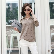OrangeBear - V-Neck Eiffel Tower Dot 3/4 Sleeve Top