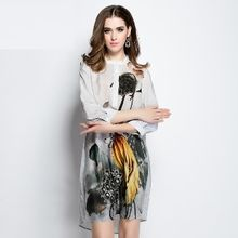 Ameous - 3/4-Sleeve Printed Silk Dress