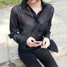 ERANZI - Hidden-Button Sheer Blouse