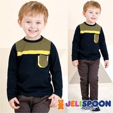 JELISPOON - Boys Pocket-Front Contrast-Trim T-Shirt
