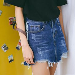 MOJIN - Distressed Denim Skort