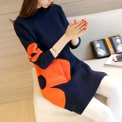 Bubbleknot - Long-Sleeve Flower Knit Dress