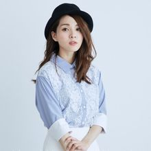BAIMOMO - Lace-Panel Striped Blouse