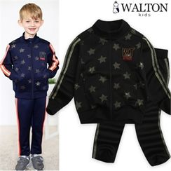WALTON kids - Boys Set: Star Pattern Zip-Up Jacket + Sweatpants