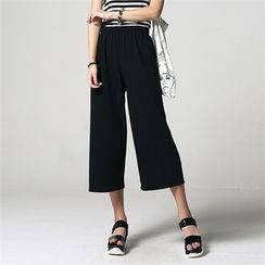 JVLLY - Band-Waist Wide-Leg Pants