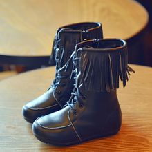 BOOM Kids - Kids Fringed Lace-Up Mid-Calf Boots