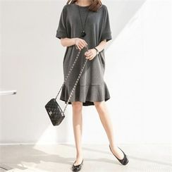 PIPPIN - Ruffle-Hem Pullover Dress