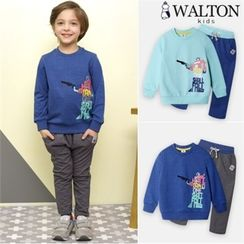 WALTON kids - Boys Set: Lettering Sweatshirt + Sweatpants