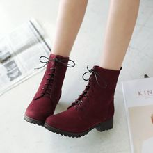 Blingon - Low Heel Lace Up Ankle Boots