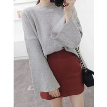 maybe-baby - Bell-Sleeve Ribbed Knit Top