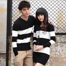 NoonSun - Couple Matching Striped Knit Pullover / Long-Sleeve Dress