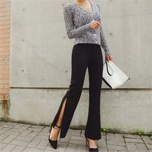 ERANZI - Slit-Side Boot-Cut Dress Pants