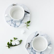 Modern Wife - Marble Print Coffee Cup With Plate