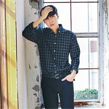 MITOSHOP - Long-Sleeve Plaid Shirt