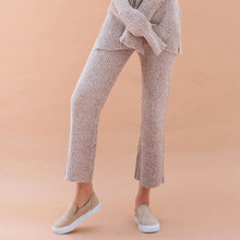 chuu - Set: Mélange Rib-Knit Top + Pants