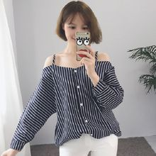 Rocho - Off-Shoulder Strap Pinstripe Long-Sleeve Blouse
