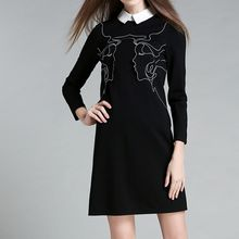 Merald - Embroidered Contrast Collared 3/4 Sleeve Dress