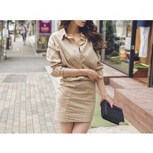 UUZONE - Cotton Shirtdress