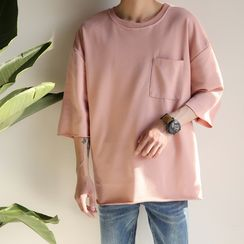 Soulcity - Elbow-Sleeve Plain T-Shirt